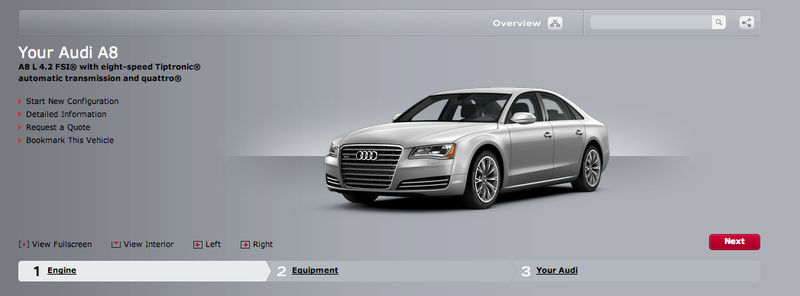Audi releases online configurator for the 2011 A8