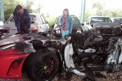 2008 Ferrari F430 burns down; owner cries about it