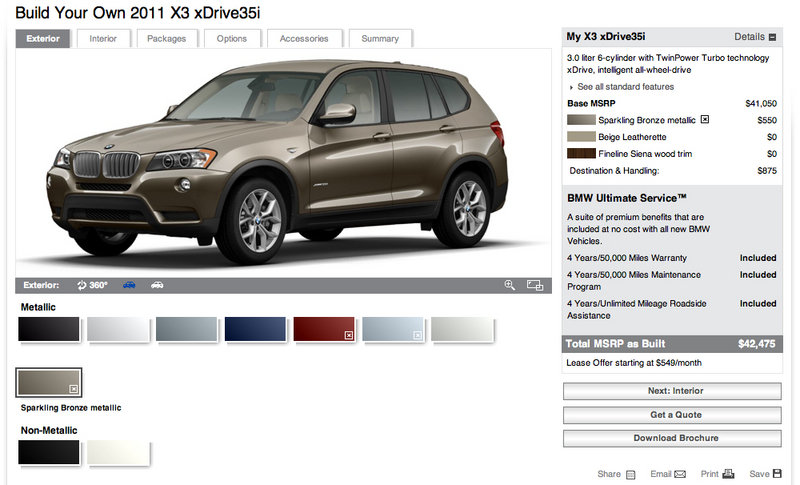 BMW releases online configurator for 2011 X3