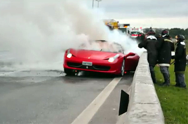 ferrari 458 italia burns down in brazil picture