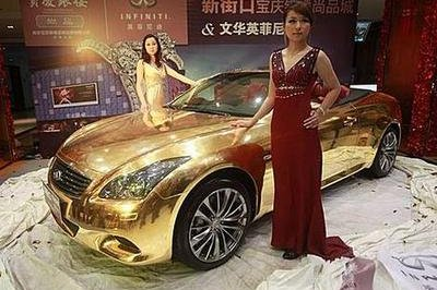 Grab your sunglasses; this Infiniti G37 Cabriolet is covered in 24K gold