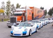 Porsche GT3  GT3 Cup cars at Buttonwillow Raceway during pre-production testing