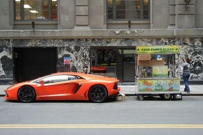 Lamborghini Aventador Hot Dog Cart used to promote 2012 New York Auto Show