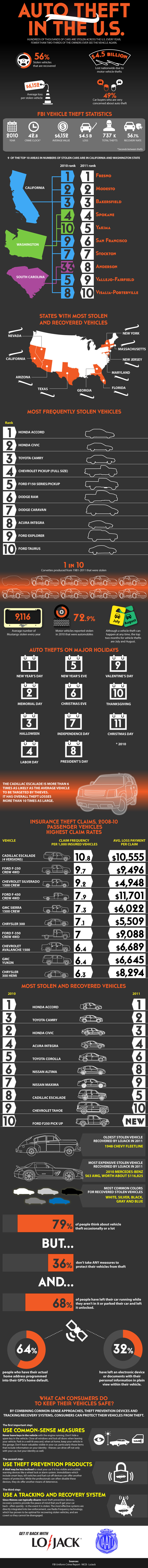 Car Infographics: Auto Theft in the U.S.