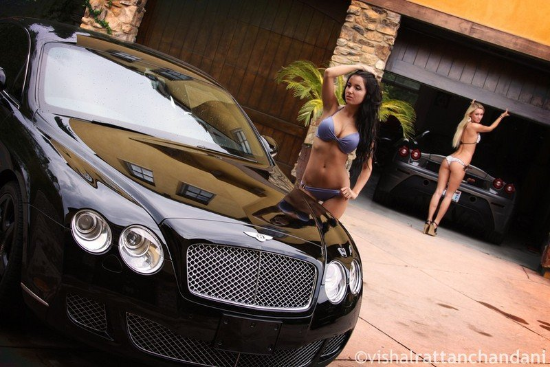 Our carwash dreams come to life with two babes cleaning a Ferrari 430 Scuderia and a Bentley Continental GT