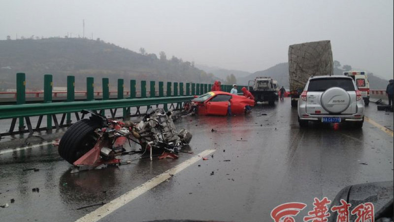 Pair of Ferraris Demolish Each Other in China