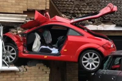 Driver Embeds His Audi TT into the Side of a House