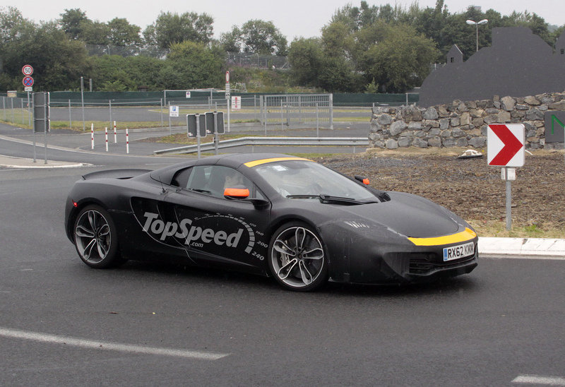 Spy Shots: McLaren P13 Mule or Revised MP4-12C Spyder Caught Testing in the Rain