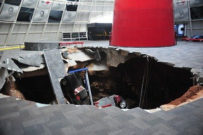 Sinkhole Opens Under Corvette Museum and Destroys Eight Unique Vettes