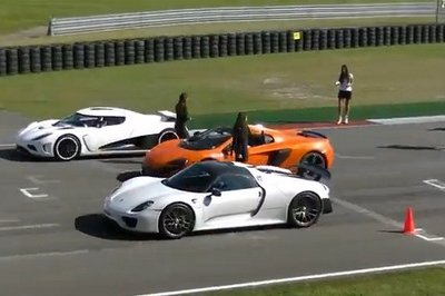 Video: Porsche 918 Spyder vs 650S Spider vs Koeningsegg Agera R