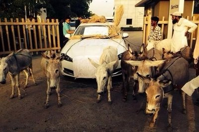 2014 A Jaguar owner uses donkeys to pull his car to the dealership