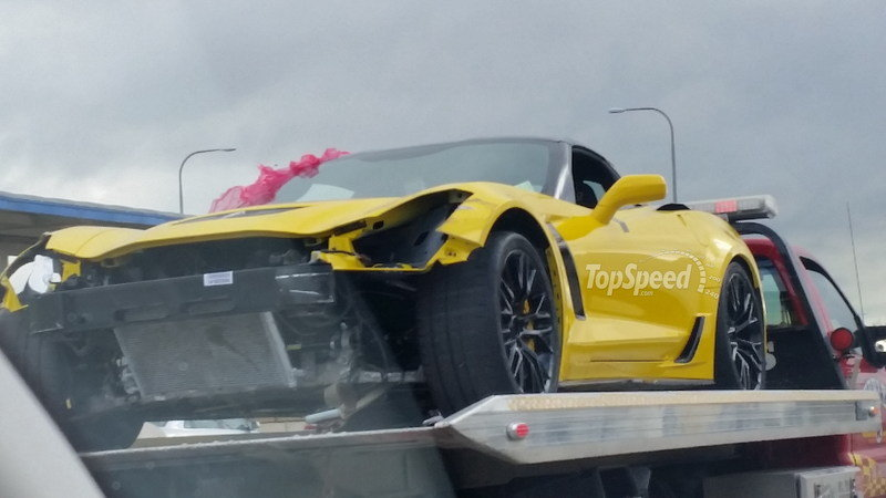 TopSpeed Exclusive: Wrecked 2015 Chevrolet Corvette Z06 Caught on a Flatbed