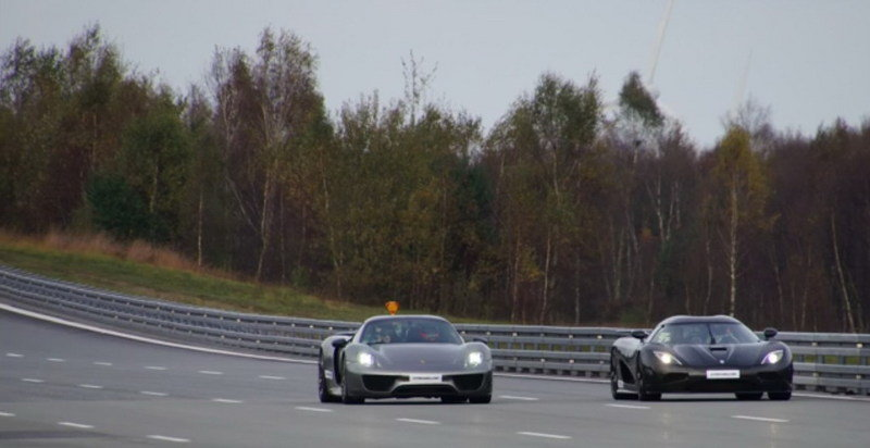 Koenigsegg Agera R Vs. Porsche 918 Spyder Weissach Package: Video