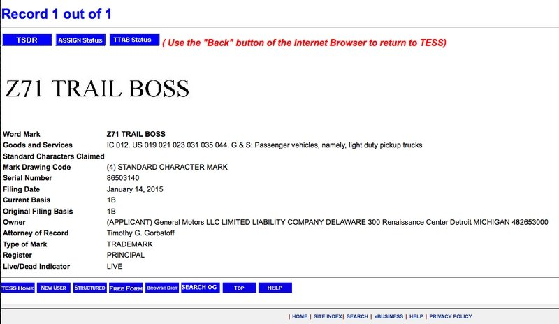 "GM Trademarks ""Z71 Trail Boss"" Nomenclature"