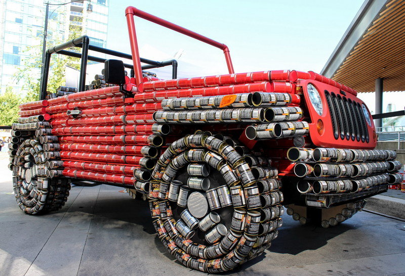 Life-Size 'Canstruction' of Jeep Wrangler Built For Charity