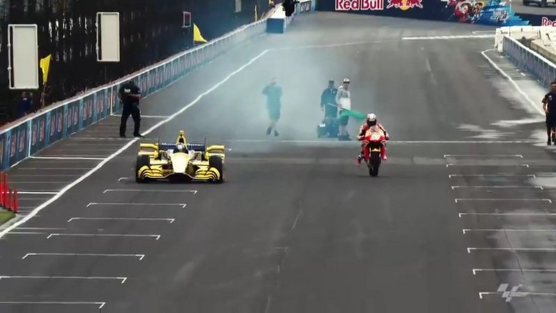 Marco Andretti VS Dani Pedrosa At Indianapolis: Video