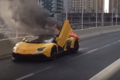 Lamborghini Aventador SV Catches Fire In Dubai: Video