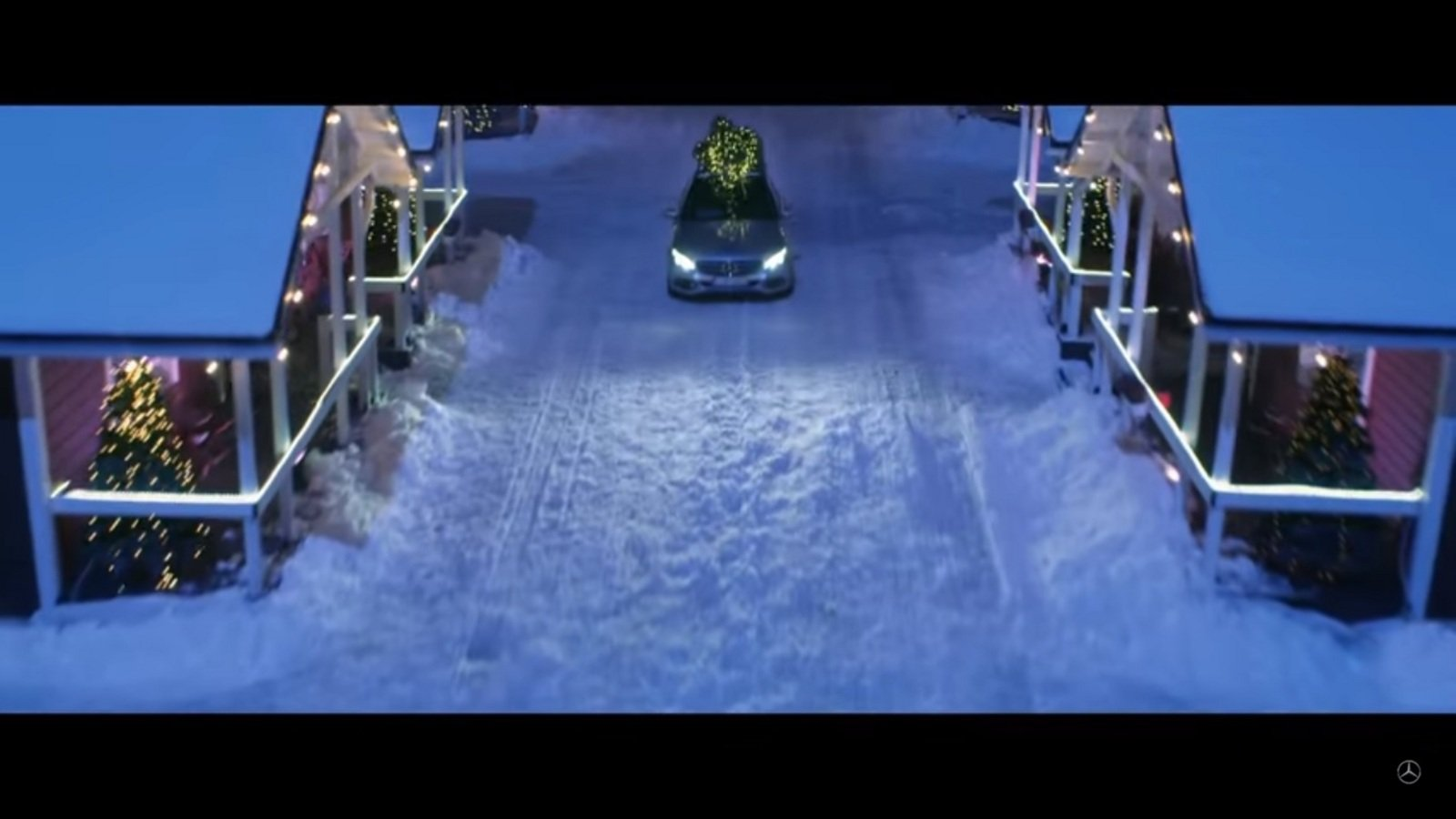 Mercedes launches c class silent night commercial video for Mercedes benz christmas commercial