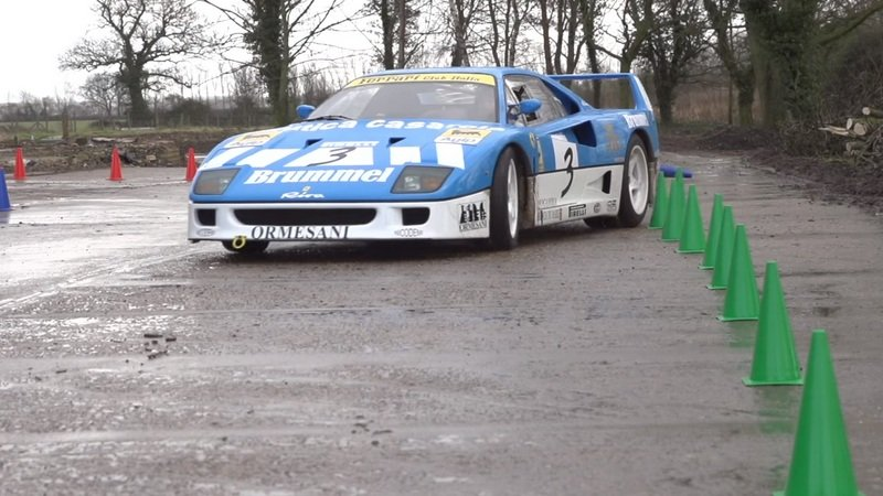 Ferrari F40 GT Drifting On A Farm: Video