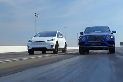 Tesla Model X P90D vs. Bentley Bentayga – The ultimate showdown: Video