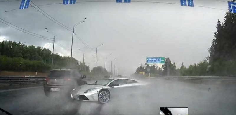 This is why you don't Lambo in the Rain: Video