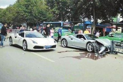 Two Ferrari 488 GTBs Collide to Miss Dog in the Street