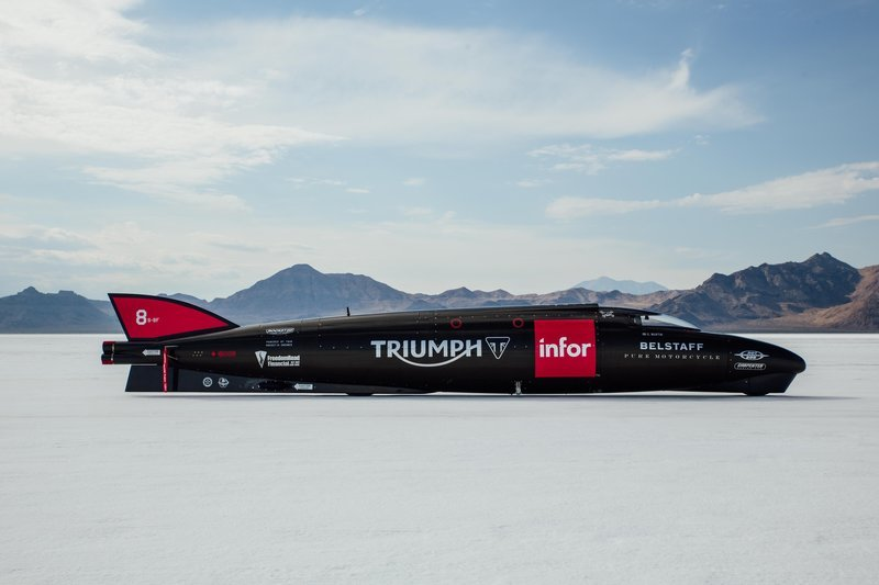 Triumph is attempting to break the land speed record in a 1000 bhp rascal.
