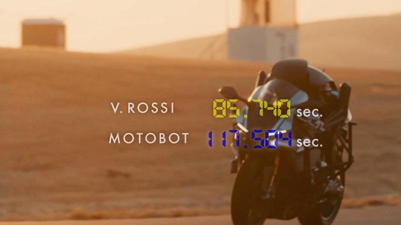 Rossi shows the Yamaha Motobot who is boss.
