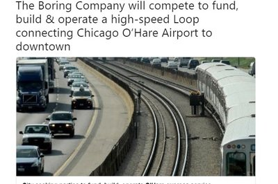 Elon Musk Hopes to Connect O'Hare International to Downtown Chicago via High-Speed Loop