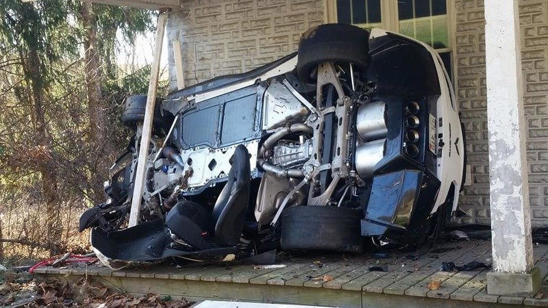 His Angel Was Riding Shotgun: Chevy Corvette Z06 Crashes into a House