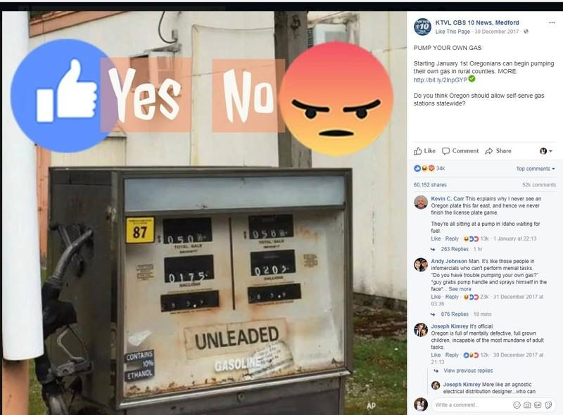 Oregonians Go Crazy Over Self-Service Gas Stations; Facebook Trolls Come Out Of The Woodwork
