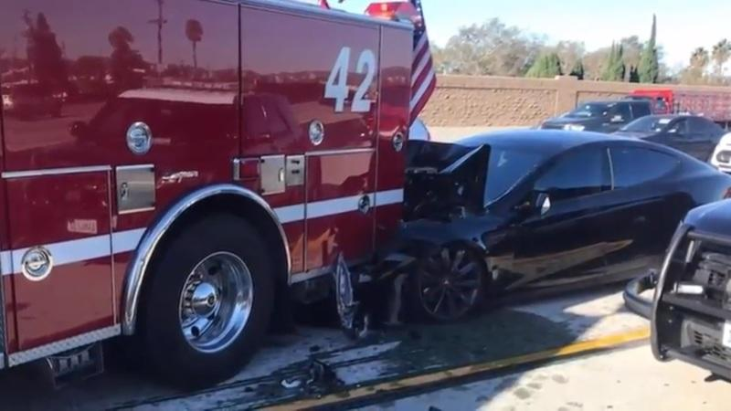Tesla Model S, Apparently On 'Autopilot,' Crashes Into Culver City Fire Truck At High Speed