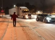 Tesla Model X Pulls Stuck Volvo Semi Out Of The Snow: Video - image 755975