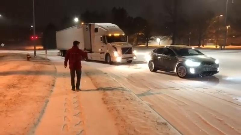 Tesla Model X Pulls Stuck Volvo Semi Out Of The Snow: Video