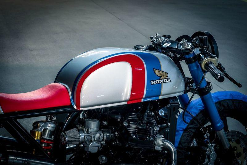 Here is a custom Honda CX500 with tire warmers