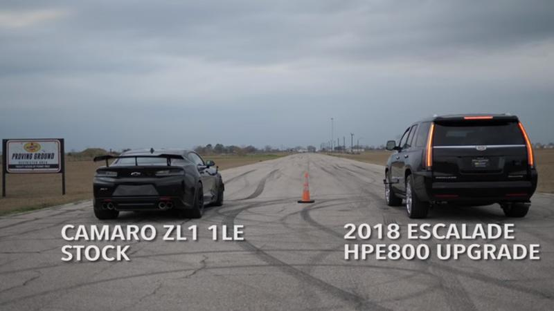 Video of the Day: Watch This Cadillac Escalade Outrun a Camaro ZL1 1LE