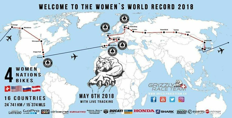 Four female riders will ride around the globe and attempt to break a world record