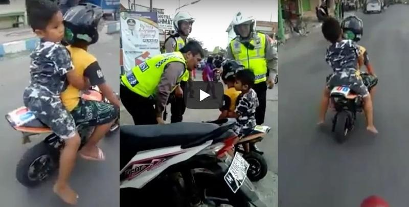 Video: A kindergarten kid gets caught by cops for riding a mini-moto on a highway