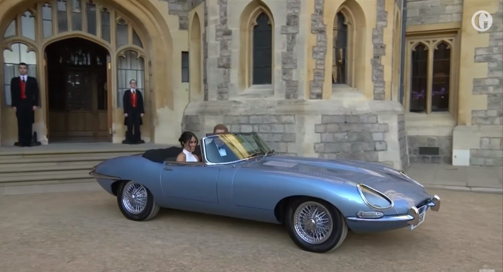 Jaguar F Type Convertible >> Prince Harry And Meghan Markle Leave The Royal Wedding In ...