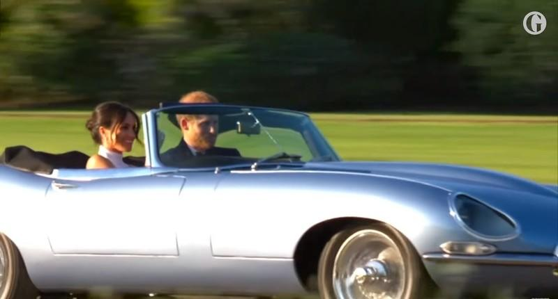 Prince Harry And Meghan Markle Leave the Royal Wedding in Style with an Electric Jaguar E-Type