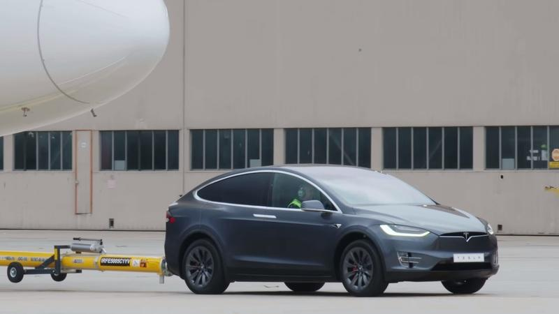 Tesla Model X Pulls 56 Times its Maximum Towing Capacity; Set's New World Record as it Moves a Boeing 787-9 Dreamliner