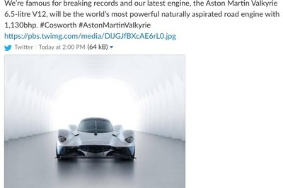 Cosworth Posts - And Deletes - Tweet About The Aston Martin Valkyrie's Record-Breaking Output - image 791287