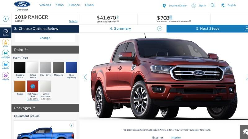 Ford Ranger Configurator Exposes Pricing of $24,000 to $34,000