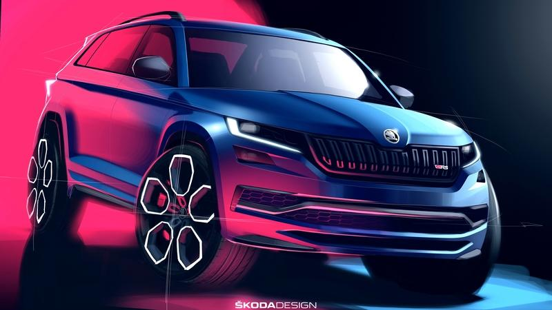 Skoda Teases the 2019 Kodiaq RS and It Looks Mean