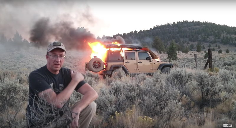 Watch a Jeep Wrangler Get Burnt to a Crisp in the Desert