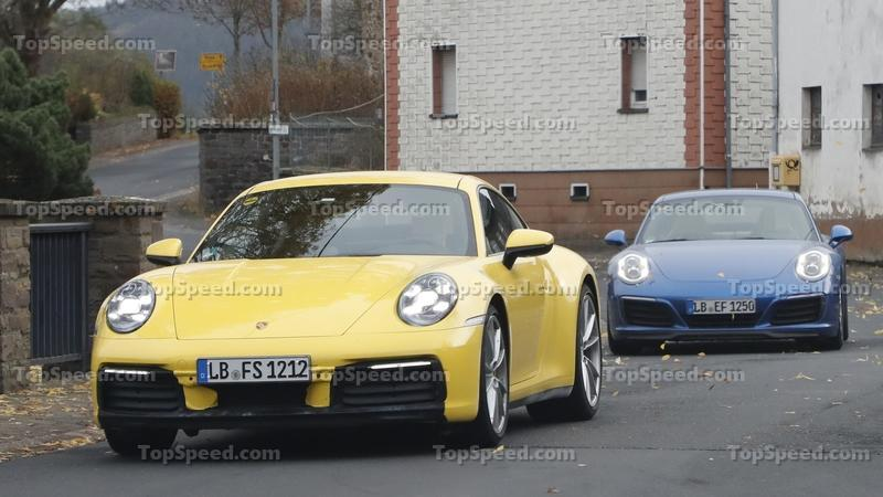 Porsche 911 992 caught testing next to the 991