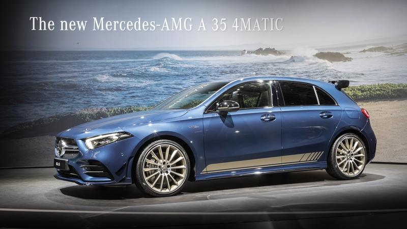 The 2019 Mercedes-AMG A35 Showed Up in Paris Wearing a Stunning Blue Tuxedo