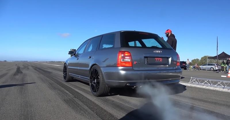 Watch an Old-School Audi S4 with Bugatti-Like Power Make the 1/2-Mile Scream for Mercy