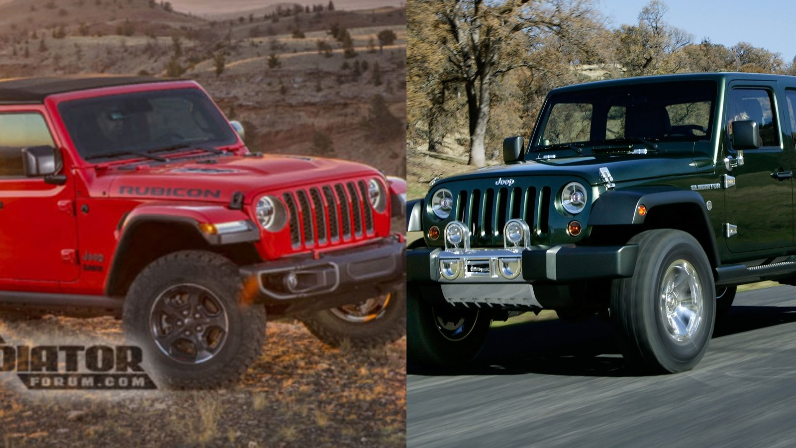 Visual Comparison Between The 2020 Jeep Gladiator And The ...