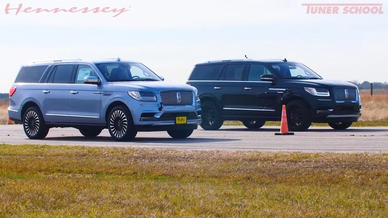 Watch a Stock 2019 Lincoln Navigator Take on a Hennessey-Tuned Lincoln Navigator in an Oversized Drag Race
